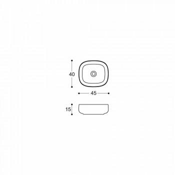 Arbeitsplatte Waschbecken in weißer Keramik Modern Oval Design - Tune3