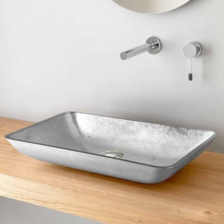 Rechteckiges Aufsatzwaschbecken aus Gold-, Silber- oder Kupferblattglas - Wandor
