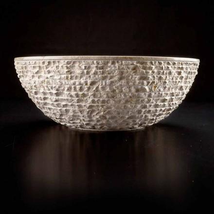 Rundes Waschbecken Handarbeit aus weißem Marmor - Leinen