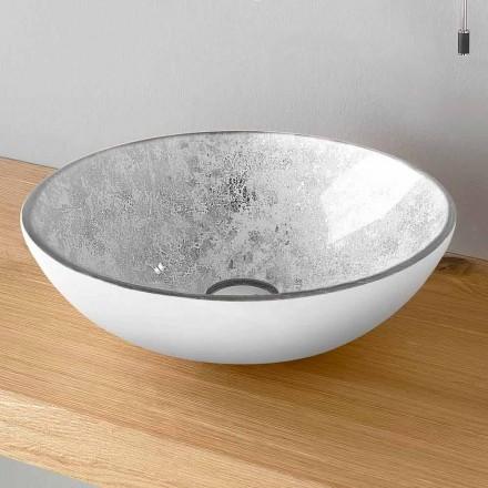 Rundes Aufsatzwaschbecken aus Glas mit Innenblattdekoration Made in Italy - Wandor