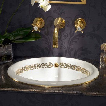 Unterputzwaschbecken aus Schamott und Gold made in Italy, Otis