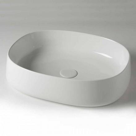 Ovales Aufsatzwaschbecken aus Keramik L 50 cm Made in Italy - Cordino