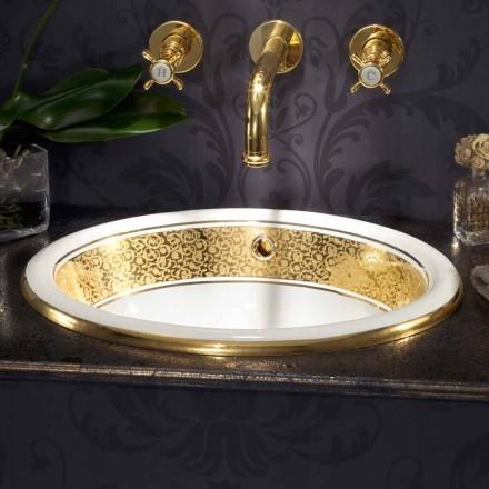 Einbauwaschbecken rund aus Fire Clay und 24k Gold made in Italy, Otis