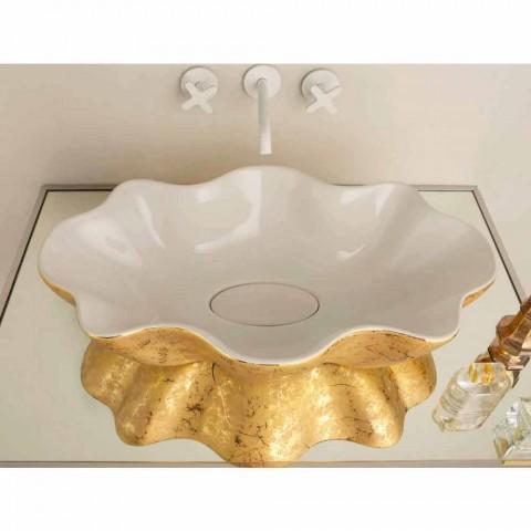 Arbeitsplatte Design Waschbecken in Weiß und Gold Keramik in Italien Cubo gemacht