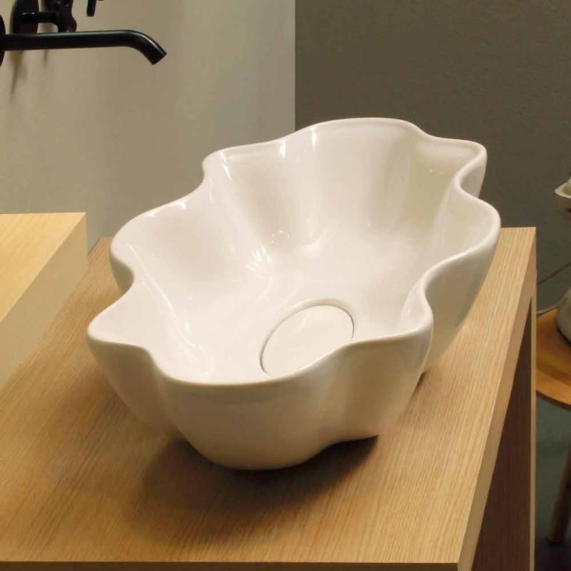 Waschbecken im modernen Design aus weißer Keramik in Italien Cubo