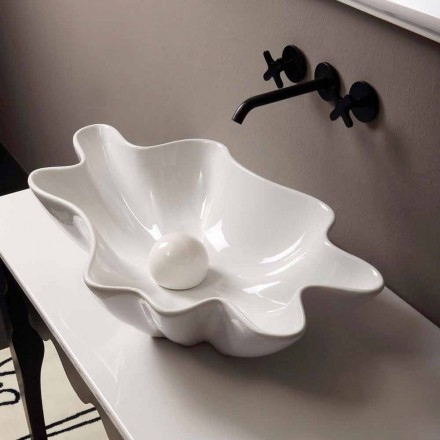 Modernes Design Aufsatzwaschbecken, weiße Keramik made in Italy Rayan