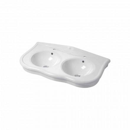 Modernes Doppelwaschbecken oder Wandwaschbecken aus Keramik Avise