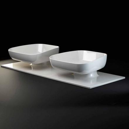 Doppelte moderne Aufsatzwaschbecken in Keramik made in Italy, Reale