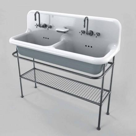 Vintage Keramik Waschbecken mit zwei Becken auf Struktur Calvin