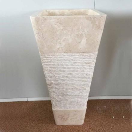 Natürliches weißes Stein freistehendes Waschbecken Robin, einzigartiges Stück Design