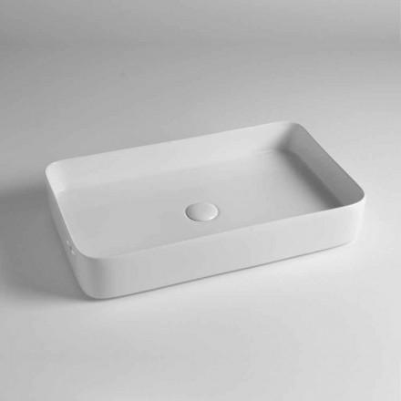 Rechteckiges Aufsatzwaschbecken aus farbiger Keramik Made in Italy - Dable