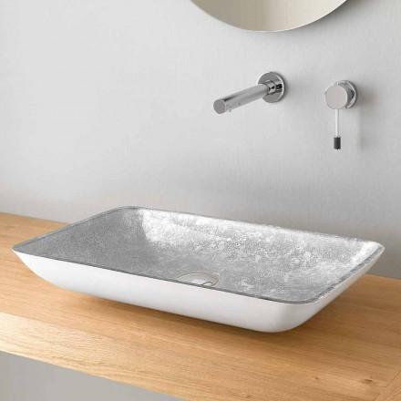Rechteckiges Aufsatzwaschbecken aus hochwertigem Glas Made in Italy - Wandor