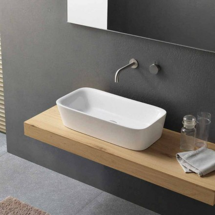 Modernes rechteckiges Arbeitsplattenwaschbecken in Keramikdesign - Lipperialav1