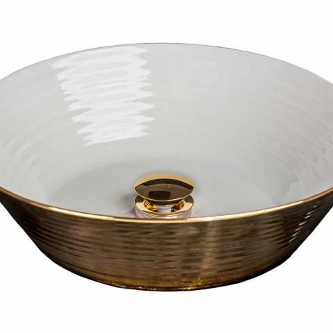 Rundes Aufsatzwaschbecken aus Porzellan und Gold made in Italy, Felice