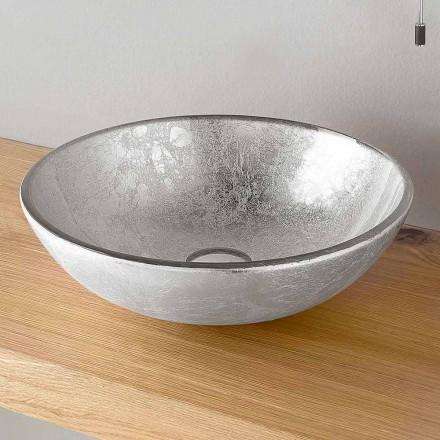Rundes Aufsatzwaschbecken in Silber, Kupfer oder Blattgold verziert - Wandor