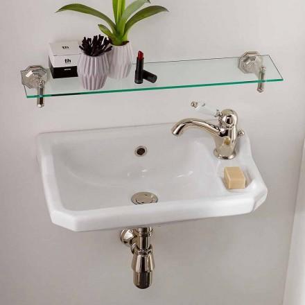 Hängendes Handwaschbecken aus Keramik im klassischen Design, hergestellt in Italien - Nausica