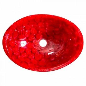 Moderne Arbeitsplatte aus rotem Harz handgefertigt, Buscate
