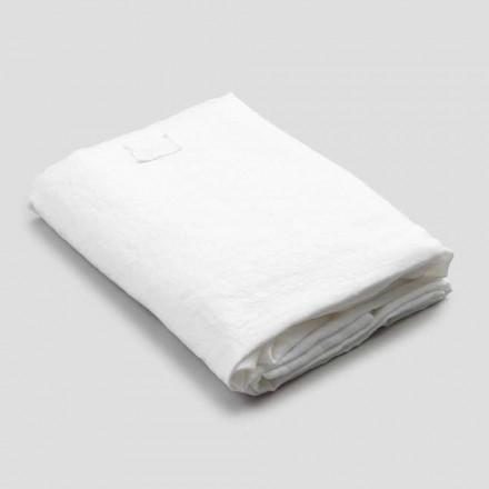 Weißes Leinenbettlaken für Doppelbett, Luxusdesign Made in Italy - Fiumano