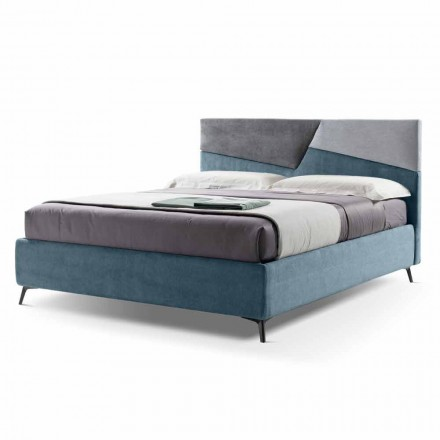 Doppelbett mit Container gepolstert in Made in Italy Stoff - Raggino