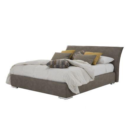 Doppelbett mit Behälter aus Stoff oder Öko-Leder Made in Italy - Doremì