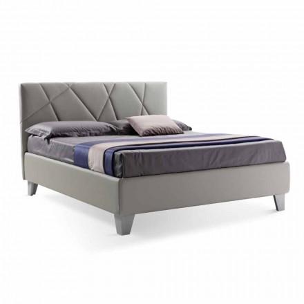 Modernes Design Doppelbett gepolstert mit Box Made in Italy - Ciottolino