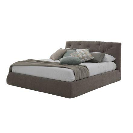 Gepolstertes Doppelbett mit Box aus Kunstleder oder Made in Italy Stoff - Seehecht