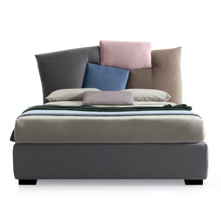 gepolstertes Ehebett mit Bettkasten aus Stoff - Belle