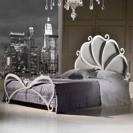 Doppelbett gepolstert 160x190 cm aus Eisen mit Kristall Kimberly