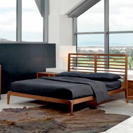 Doppelbett made in Italy,Basis aus massivem Nussholz,Design Didimo