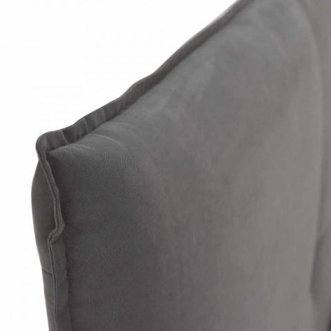 Doppelbett mit abnehmbarer Abdeckung mit Holzfüßen Made in Italy - Tampa