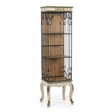 Klassisches Design Boden Bücherregal in Holz und Stahl Homemotion - Verena
