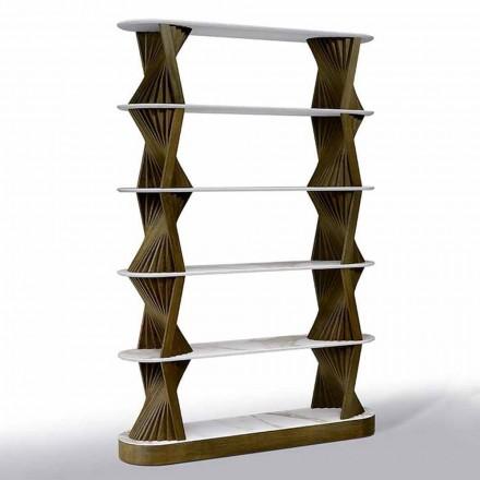 Luxus Boden Bücherregal aus Holz mit Steinzeug Tops Made in Italy - Aspide