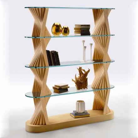 Luxusboden Bücherregal aus Glas und Eschenholz Made in Italy - Aspide