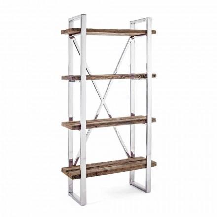 Homemotion Modern Floor Bücherregal aus verchromtem Stahl und Holz - Lisotta