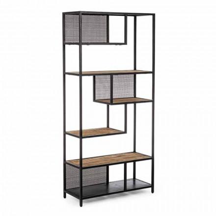 Homemotion Boden Bücherregal aus lackiertem Stahl mit Holzregalen - Borino