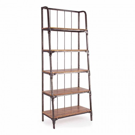 Homemotion Boden Bücherregal aus lackiertem Stahl mit Holzregalen - Molina