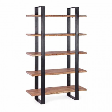 Homemotion Modernes Bücherregal mit Stahlboden und Holzregalen - Lanza