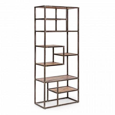 Homemotion Industrial Style Bücherregal aus lackiertem Stahl und Holz - Zompo