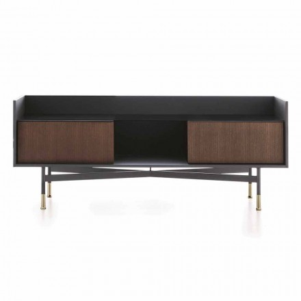 Sideboard in Anthrazit-Finish mit Glasplatte, Precious Made in Italy - Tonic