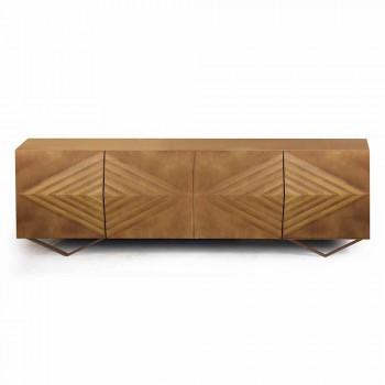2- oder 4-türiges Sideboard aus Holz mit Kristallregalen Made in Italy - Gardena