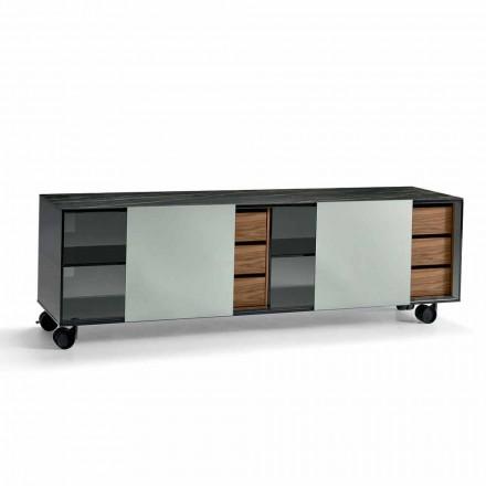 Modernes Sideboard auf Rädern aus Smokey Glass und Keramikplatte Made in Italy - Scocca