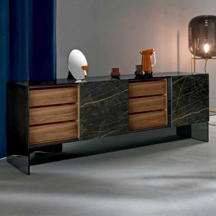 Wohnzimmer Sideboard mit 2 Türen in Keramik- und Rauchglasstruktur Made in Italy - Scocca