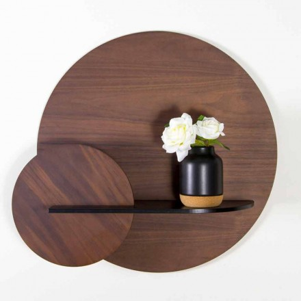 Modulares modernes Regal aus Nussbaum und schwarz lackiertem Sperrholz - Amena