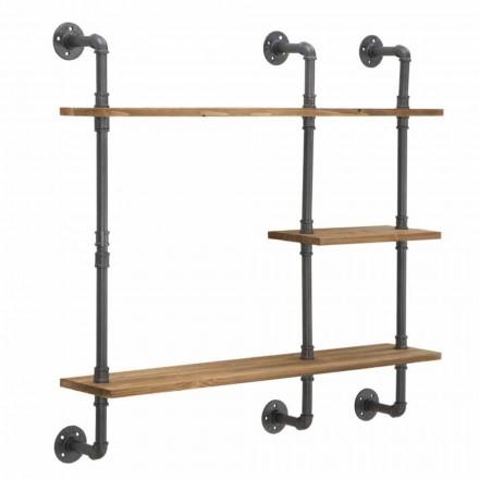 Modernes Design Wandregale im Industriestil aus Eisen und Holz - Katrine