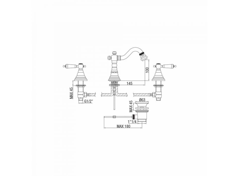 3-Loch-Mischer für Bidet in Messing Klassisches Design Made in Italy - Shelly
