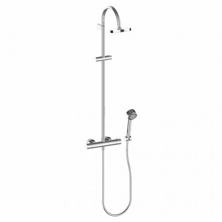 Duschsäule mit Duschkopf und Handbrause aus verchromtem Messing, hohe Qualität - Zanio