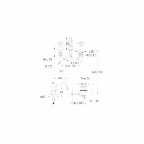3-Loch-Waschtischmischer 130 mm hoch aus Messing Made in Italy - Binsu