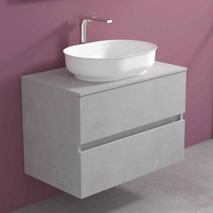Abgehängte Badezimmermöbel mit ovalem Waschbecken, modernes Design - Cesiro