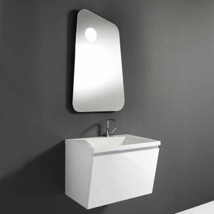 Badezimmerschrank mit Waschbecken und Designerspiegel aus Holz und Mineralmarmor - Fausta