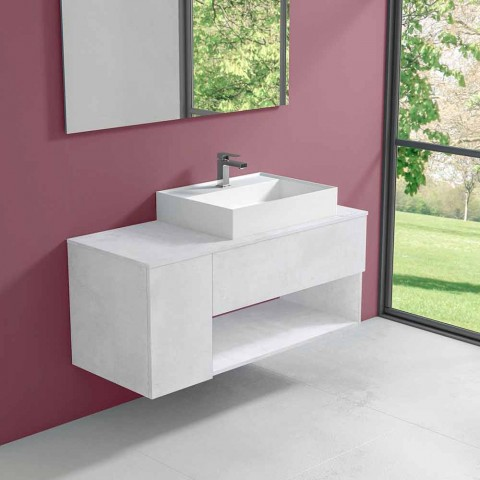 Badezimmerschrank mit hängendem Design und modernem Arbeitsplattenwaschbecken - Pistillo